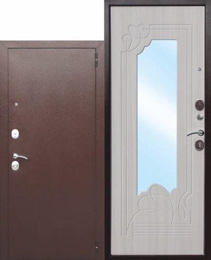 Входная-дверь-с-зеркалом-Ампир-Белый-ясень