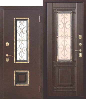 Входная-металлическая-дверь-со-стеклопакетом-Венеция-Венге