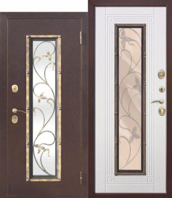 Входная-металлическая-дверь-со-стеклопакетом-Плющ-Белый-ясень