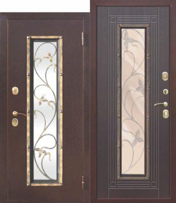 Входная-металлическая-дверь-со-стеклопакетом-Плющ-Венге