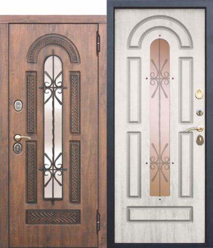 Входная металлическая дверь со стеклопакетом и ковкой Vikont ясень