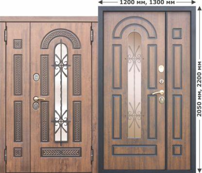 Входная металлическая дверь со стеклопакетом и ковкой Vikont 1200/1300х2050