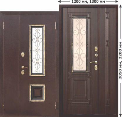 Входная-металлическая-нестандартная-дверь-со-стеклопакетом-Венеция-1200-Венге