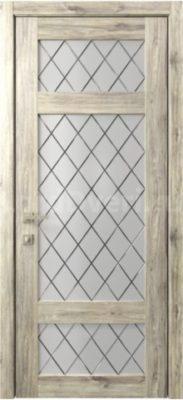 Межкомнатная дверь Кантри 10 стекло Гравировка Ромбы