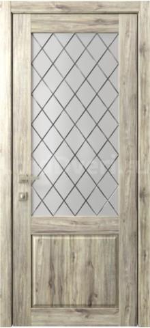 Межкомнатная дверь Кантри 2 стекло Гравировка Ромбы