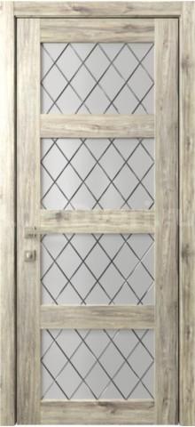 Межкомнатная дверь Кантри 8 стекло Гравировка Ромбы