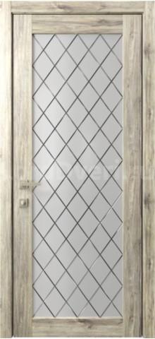 Межкомнатная дверь Кантри 12 стекло Гравировка Ромбы