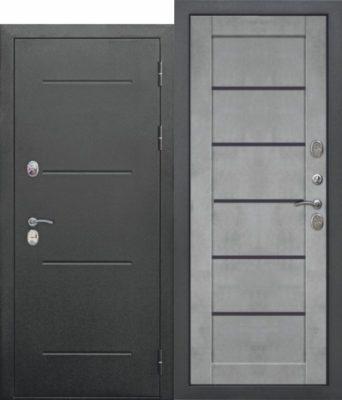Входная-дверь-11-см-ISOTERMA-Букле-чёрный-Царга-Бетон-серый