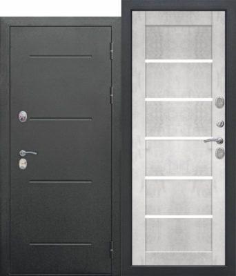 Входная-дверь-11-см-ISOTERMA-Букле-чёрный-Царга-Бетон-снежный