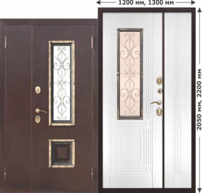 Входная-металлическая-нестандартная-дверь-со-стеклопакетом-Венеция-1200-Белый-ясень