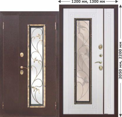 Входная-металлическая-нестандартная-дверь-со-стеклопакетом-Плющ-1200х2050-1300х2050-Белый